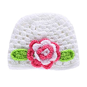Baby white Crochet Hat with a lovely Pink Flower a Newborn