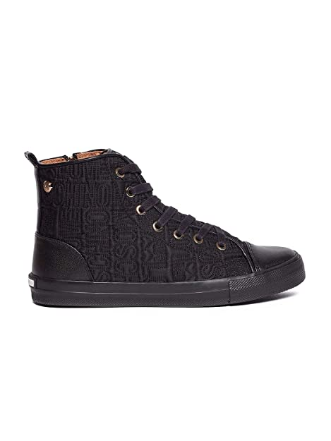 Damen Schuhe Sneakers Love Moschino High Top Vulcanized Black Gold