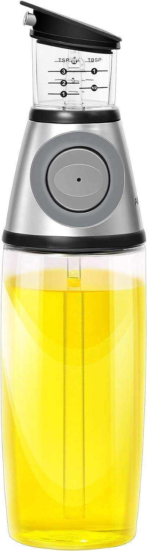 AMINNO Kitchen Oil Dispenser Press and Measure Oil Dispenser Bottle, Olive Oil and Vinegar 500ml Glass Bottles Drip Free Oil Pourer Healthy Cruet,Silver