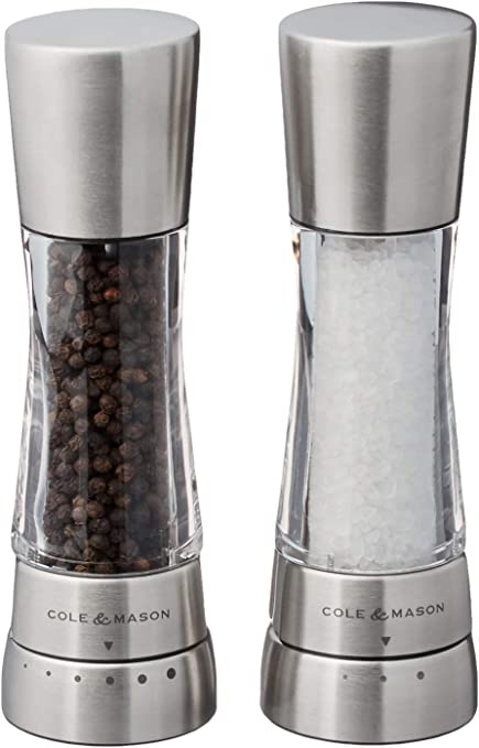 Black//Clear Cole /& Mason Wirral Salt and Pepper Shaker Set 3.5