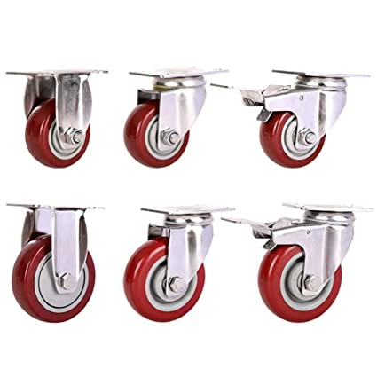 MUMA Universal Brake Wheel Heavy Duty Casters 3//4 Inches Stainless Steel Industrial Push Wheel Machinery And Equipment Round Color : Brake, Size : 3 inch 4 pieces