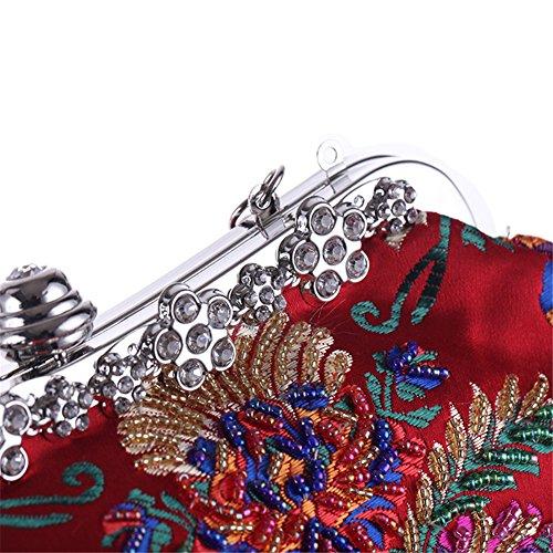 Broderie À Épaule Orfila Sac De Pochette De Soirée Main Robe Tache Mariage Red Fleurs Femme 01zqAx1PwF