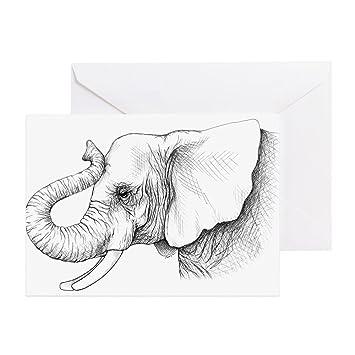 Cafepress Elefant Profil Zeichnen Grußkarte Note Karte