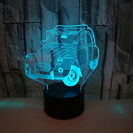 weiaikeke Coche 3D Night Led Lámpara 3D 7 Colores cambiantes ...