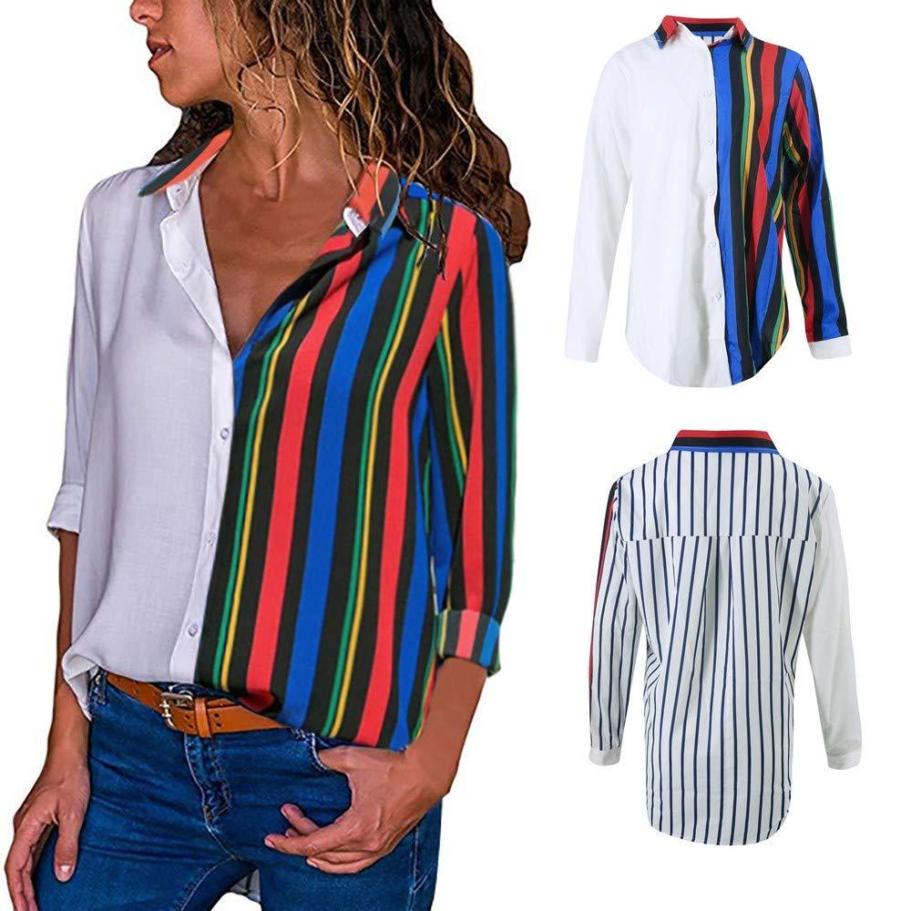 Alimao 2018 Autumn Casual Long Sleeve Color Block Stripe Button T Shirts Tops Blouse