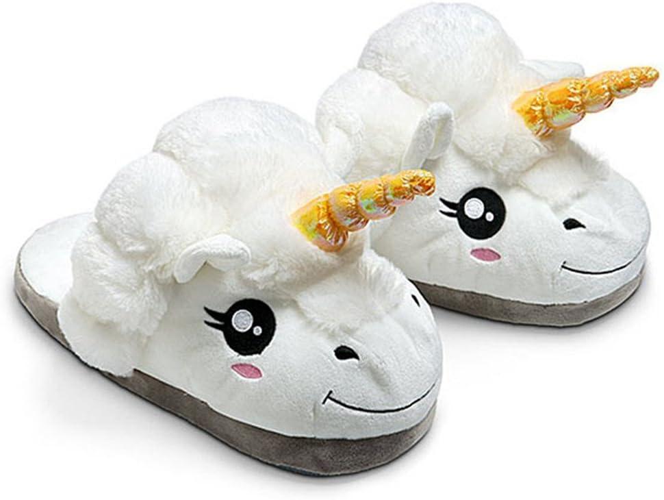 Kenmont Zapatillas de Estar por casa Zapatos Peluche de Felpa Unicornio para Adulto Talla Europea: 36-41 (White)