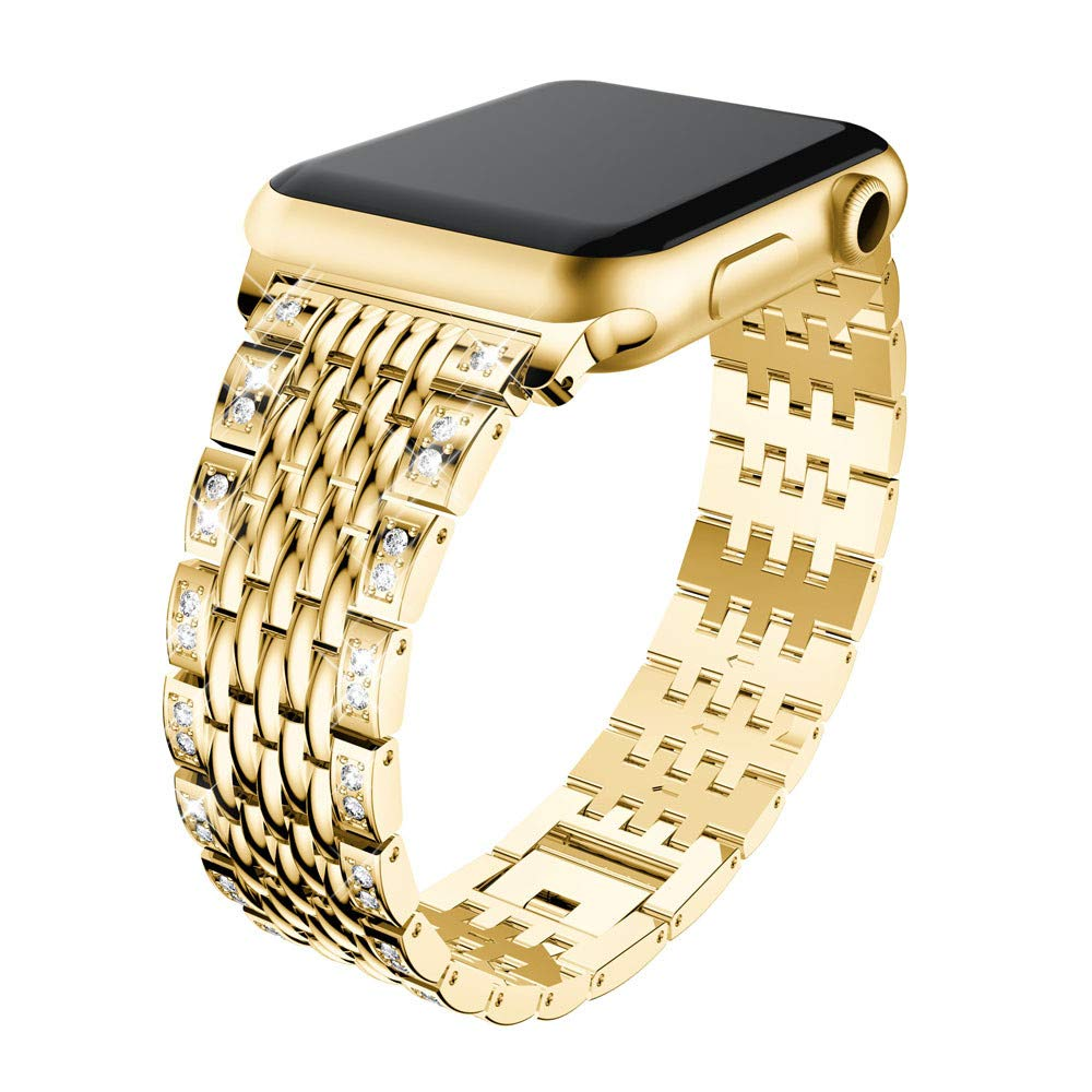 Lovewe Apple Watch Band With Bling Crystal,Comfortable Luxury Durable Metal Crystal Watch Band For Apple Watch Series 1/2/3 38mm/42mm (Gold, 38mm)