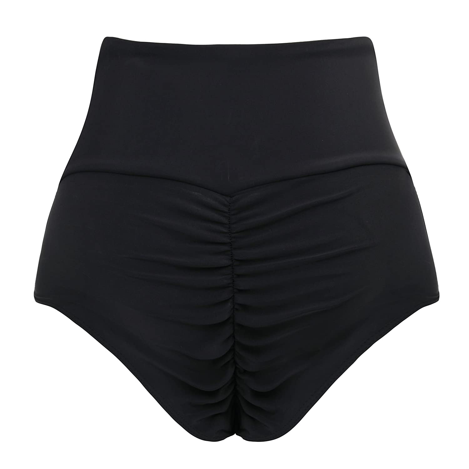 726d818987dd3 CENG MAU Women s Vintage Brazilian Ruched Butt High Waisted Bathing Bikini  Bottom  Amazon.co.uk  Clothing