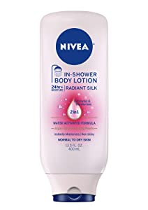 NIVEA Radiant Silk In Shower Body Lotion, 13.5 Fluid Ounce