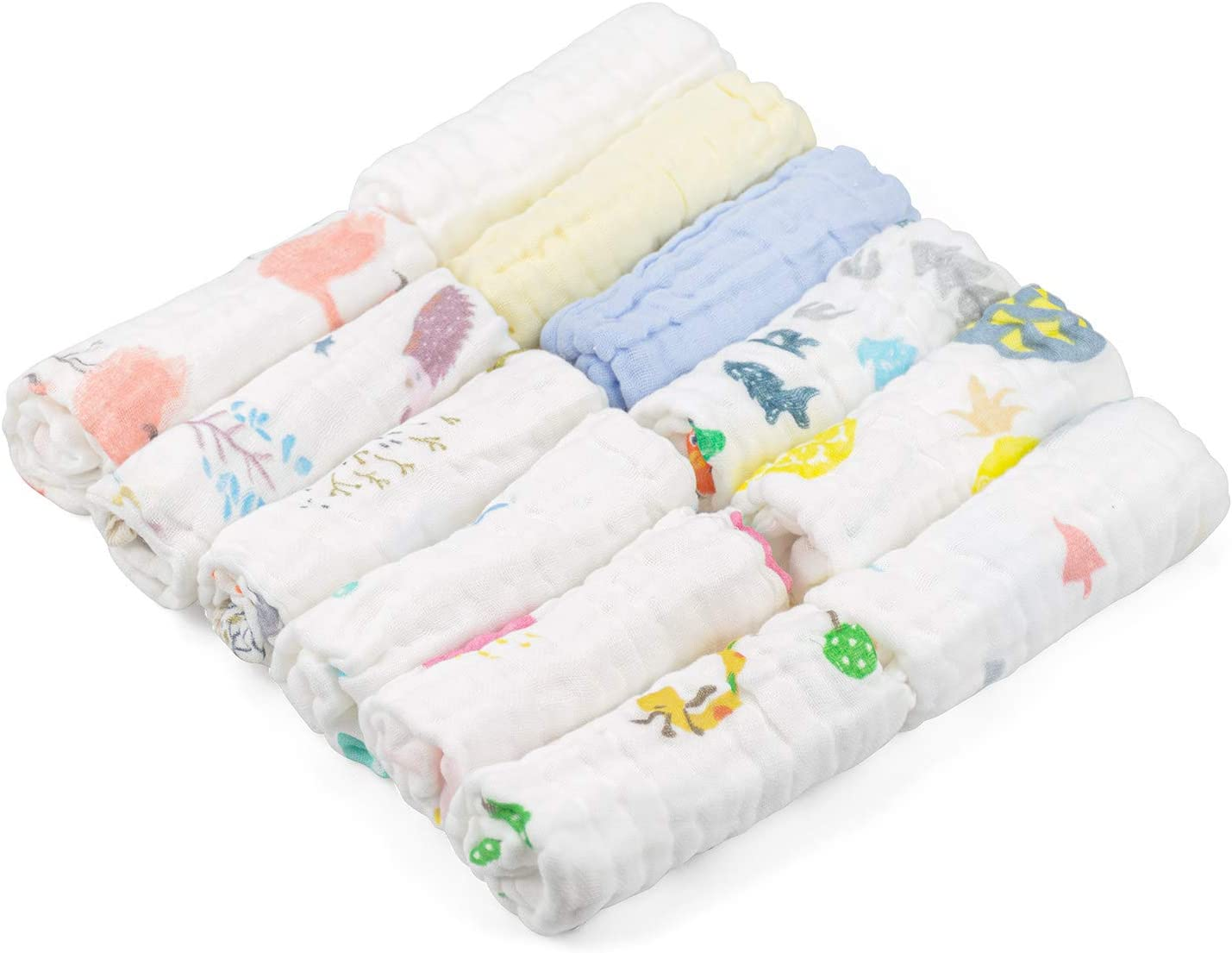 Soft and Absorbent for Infant Newborn Baby Boy Girl Kingrol 12 Pack Colorful Baby Muslin Washcloths 10 x 10 Inch 6-Layers Natural Cotton Newborn Face Towels Baby Wipes