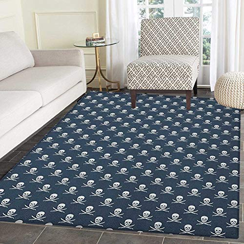 Pirates Area Rug Carpet Jolly Roger Pattern in Classic Nautical Colors Dangerous Halloween Character Living Dining Room Bedroom Hallway Office Carpet 3'x4' Dark Blue White]()