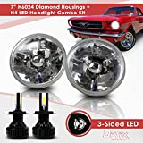 7 Inch Round Sealed Beam Headlight Conversion - fits H6024 - Clear Glass Diamond Cut Housing + H4 LED Kit 6000K Cool White 8000 LM