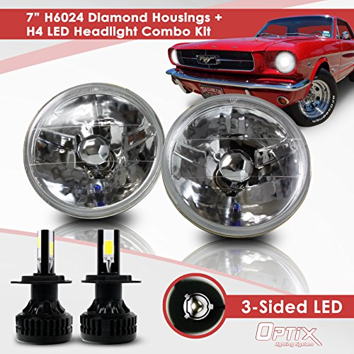 7 Inch Round Sealed Beam Headlight Conversion - fits H6024 - Clear Glass Diamond Cut Housing + H4 LED Kit 6000K Cool White 8000 LM - Round Housing