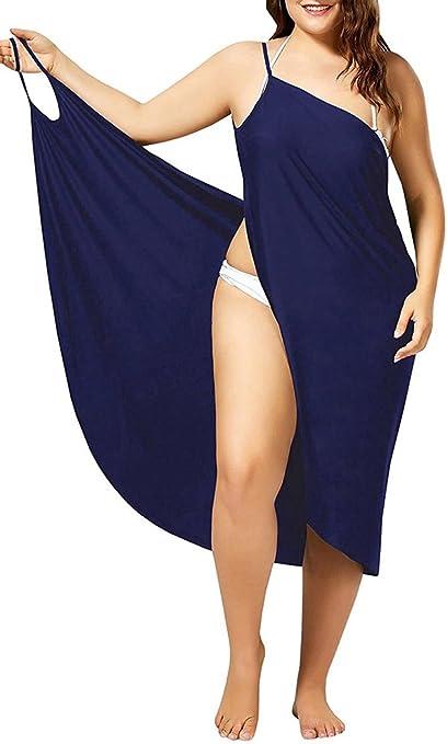 Damen Strand-Bikini-Kleid Wrap Sarong-Kleid r/ückenfrei Spaghettitr/äger Bademode