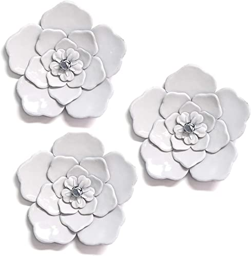 Stratton Home Decor White Metal Wall Flowers Set of 3