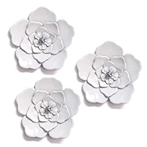 Stratton Home Decor White Metal Wall Flowers (Set of 3)