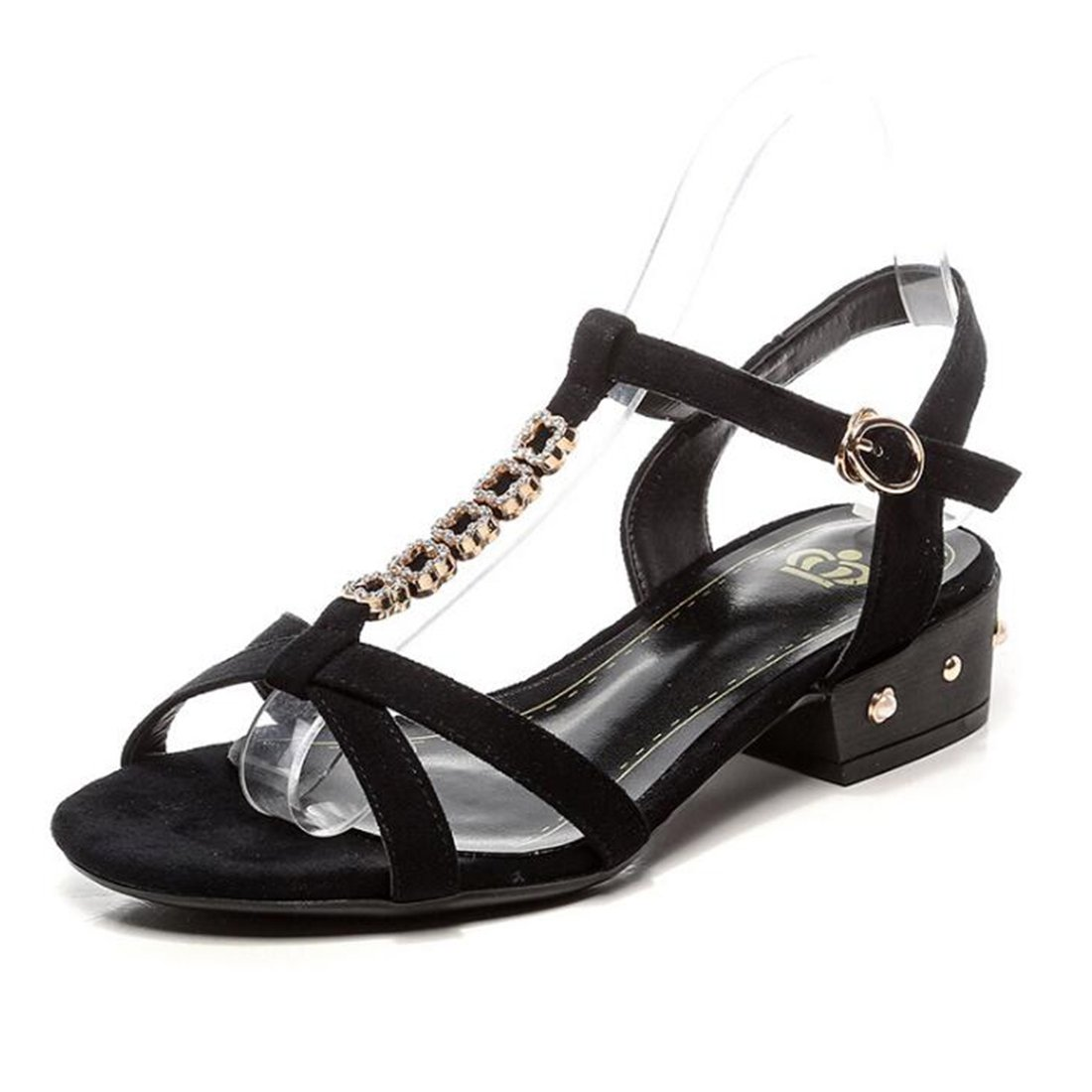 ZHONGST Frauen Sommer Strass Sandalen Casual Mode Wort Schnalle Sandalen  36|Black
