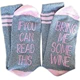 Christmas Gifts Socks IF YOU CAN READ THIS BRING ME SOME WINE Funny Saying Beer Cotton Crew Socks for Men Women