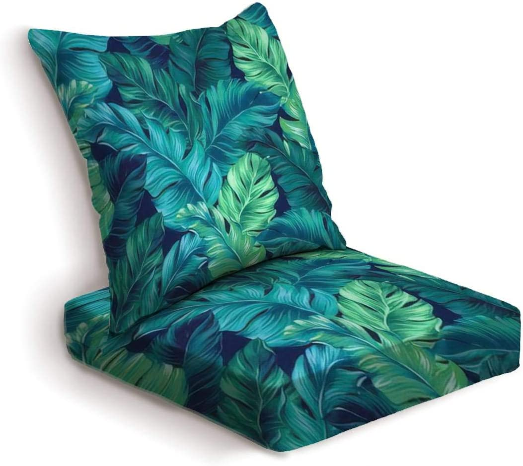 2-Piece Outdoor Deep Seat Cushion Set turquoise and green tropical leaves Seamless graphic design with Back Seat Lounge Chair Conversation Cushion for Patio Furniture Replacement Seating Cushion