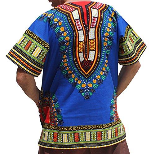 RaanPahMuang Traditional African Dashiki Shirt in Light Thin Grade Batik Cotton, Small, Bold Blue by RaanPahMuang (Image #1)