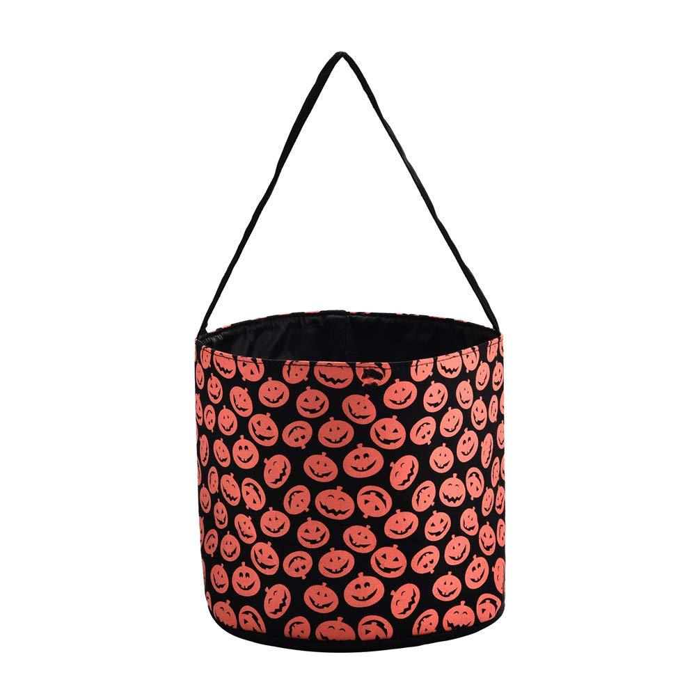 X.Sem Halloween Bucket - 100% Canvas Halloween Candy Basket - Halloween Party Supplies - Trick or Treat Bucket Tote for Kids (Pumpkin)