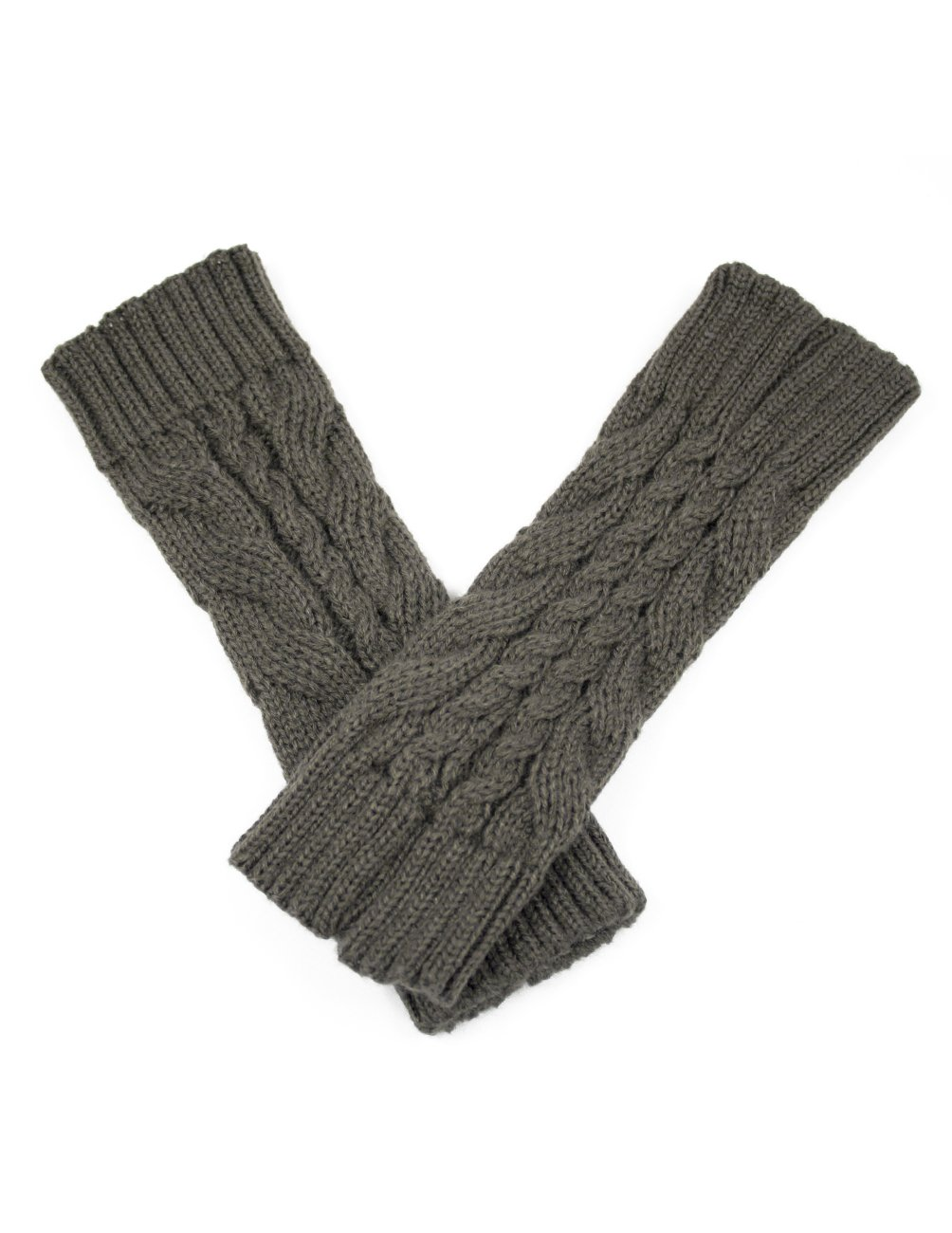 Dahlia Women's Cable Fingerless Arm Warmers Gloves - Short - Gray