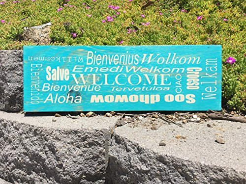 Ruskin352 Welcome In Different Languages Custom Wooden Sign 6x18 Aloha Salve Bienvenius Welcam Welkom