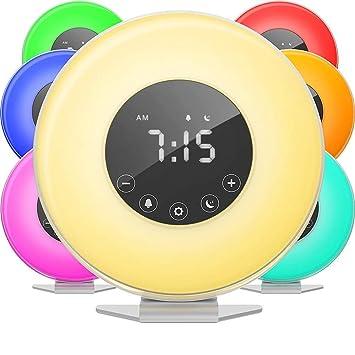GWJNB Amanecer Alarma Reloj, Smart Wake-Up Luz-Reloj Digital LED 6 Color FM Radio Habitaciones-Múltiples Sonidos De La Naturaleza Simulación De Puesta del ...