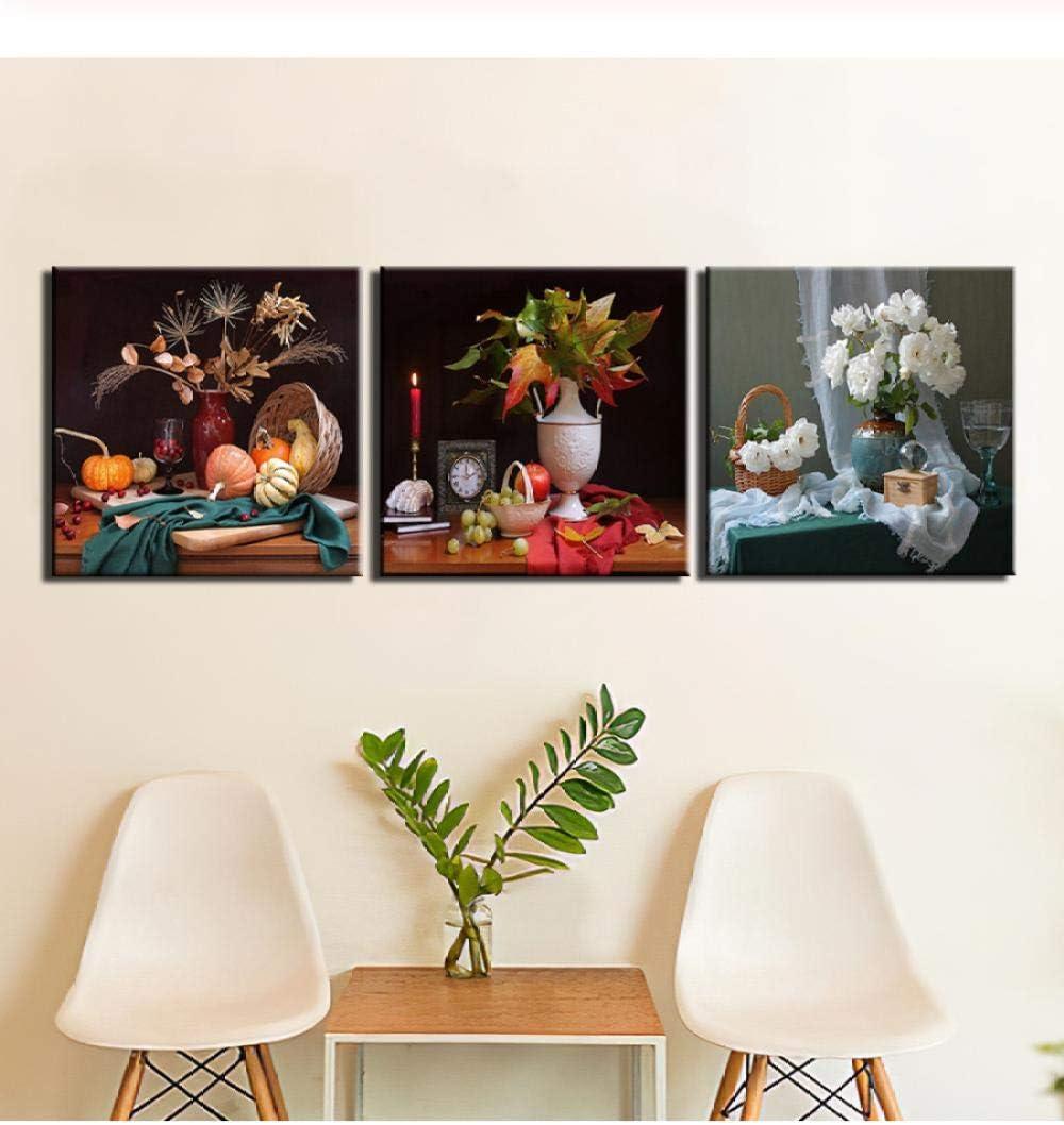 liafa Impresiones En Lienzo Impresiones En HD Cuadros Modernos Arte De La Pared 3 Piezas Bodegones Pinturas De Flores Póster para Decoración del Hogar Marco De Dormitorio
