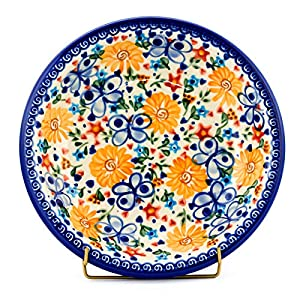 Polish Pottery, Handpainted and Handcrafted Soup Plate 22 cm ― Sunny Butterflies Artistic Pattern (A103)