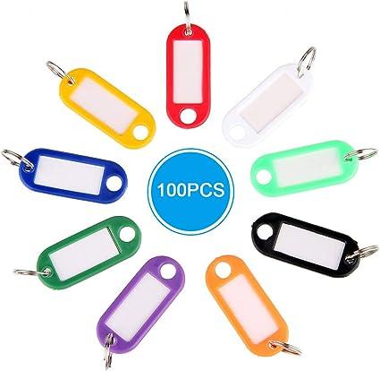 gotyou 100 Pezzi Etichette Chiave in Plastica di Colore,Numero Marcabile Tag Chiave Tag Bagagli,Tag ID Tag Portachiavi per PortachiaviAnimale