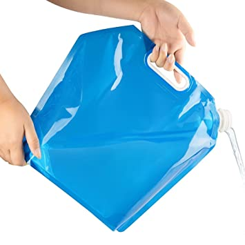 Bolsa de agua plegable azul, bolsa de almacenamiento de agua potable, para acampar,