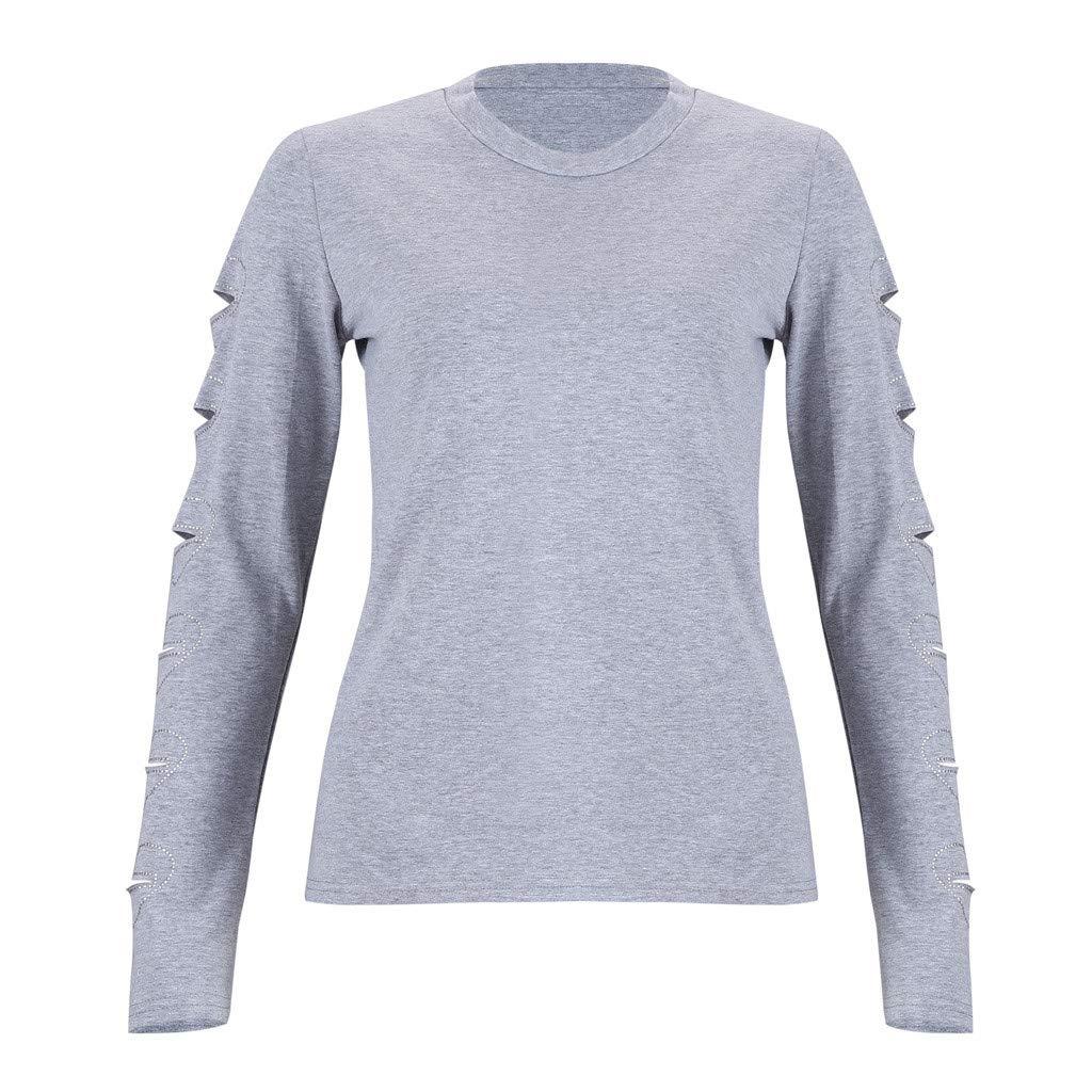 Briskorry Womens Winter Fashion T-Shirt Leisure Heart-Shaped Long Sleeve Round Neck Top Blouse