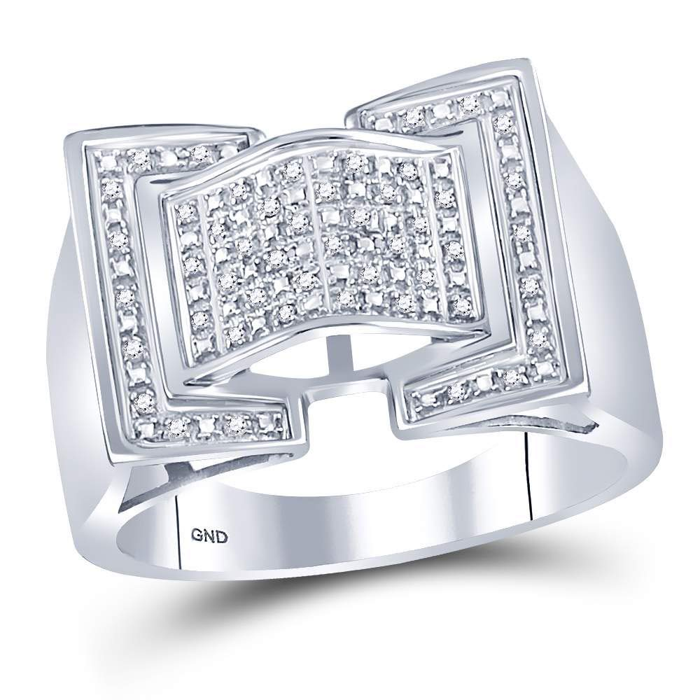 Sterling Silver Mens Round Diamond Domed Rectangle Cluster Ring 1//8 Cttw