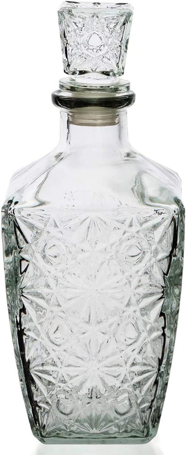 Botella Cristal Vidrio para Licores Licorera Decantador Whisky Vintage 0.8L Coñac Brandy Tallado - Jarra Licor Diseño Clasica Transparente Vino Vozka - Chupitos Ideal Botellas Regalo Decoracion.
