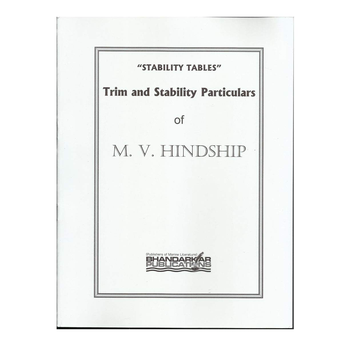 Buy M  V  Hindship Trim and Stability particulars Book