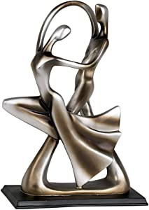 "Universal Lighting and Decor Silver Abstract 14 3/4"" High Dancing Couple Sculpture - Studio 55D"