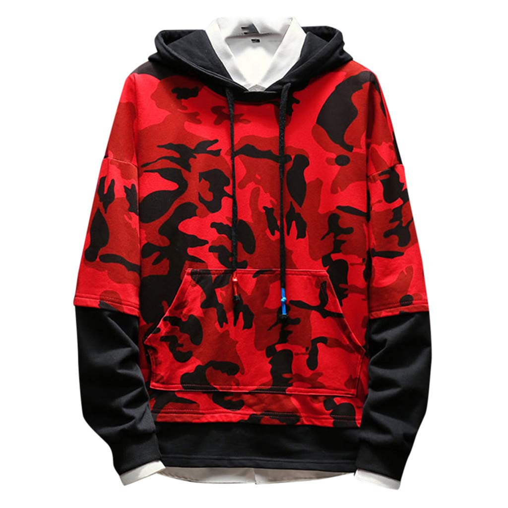 Men's Camo Hoodie Sweatshirts | Men Stylish Hipster Long Sleeve Patchwork Pullover Hooded Tops | Causal Front Pocket Shirts