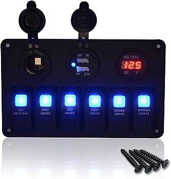 Voltmetro LED Digitale impermeabile per Auto Marine RV Camper Pannello Interruttori per Marine//Barca- Interruttore a levetta ON-OFF da 5 Gang 2 Caricatore USB Blu Accendisigari