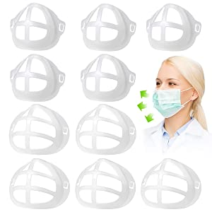 3D Mask Bracket-Food Grade Silicone PE Mask Holder-Create More Space for Comfortable Breathing -Protect Lipstick Lips-DIY Face Mask Accessories (5pcs Adult M+5 pcs Adult L)