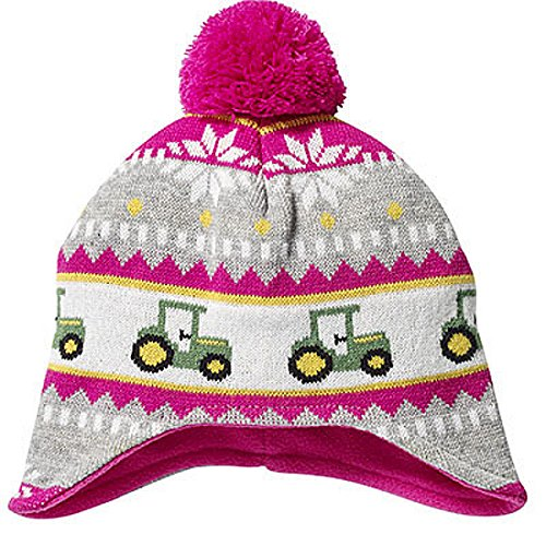 John Deere Toddler Pink Knit Hat with Tractors and -