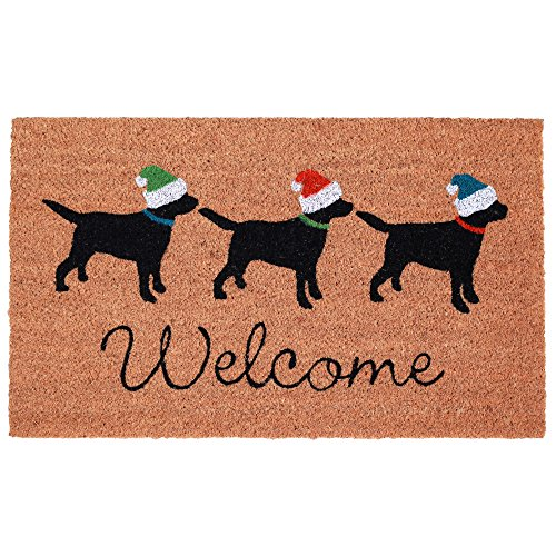 Trans Ocean Coconut Area Rugs Liora Manne Natura Three Dogs Welcome Indoor/Outdoor Mat Natural 18