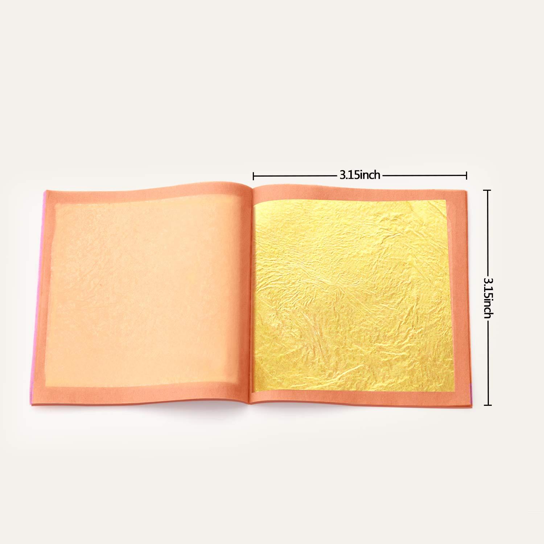 Gilding,Cake Decorations,Beauty-Loose Leaf 24 Karat Edible Gold Leaf 15 Sheets Gold Leaf 3.15 x 3.15 Inch for Arts /&Crafts