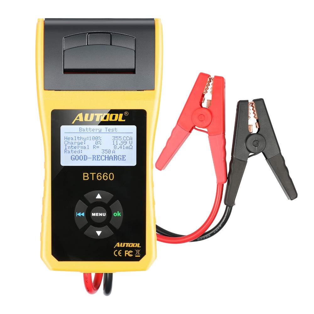 AUTOOL Car Battery Tester with Built-in Thermal Printe, BT-660, Yellow