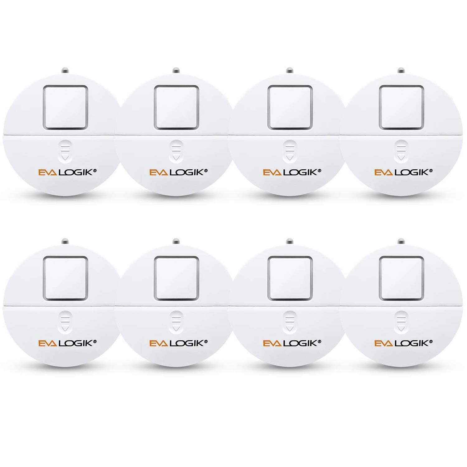 EVA LOGIK Modern Ultra-Thin Window Alarm with Loud 120dB Alarm and Vibration Sensors Compatible with Virtually Any Window, Glass Break Alarm Perfect for Home, Office, Dorm Room- 8 Pack by EVA LOGIK
