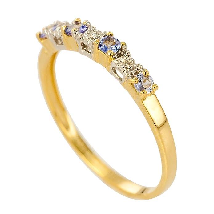 Kareco 9ct Yellow Gold Tanzanite And Diamond Set 1/2 Eternity Ring cfZrrrXCZ