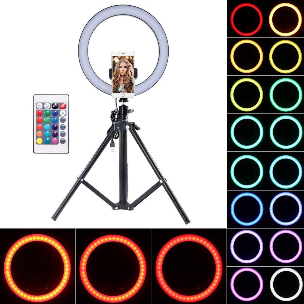 Vlog TopGreat LED Ring Light 10.2 LED Ring Light Tr/épied Photo Video Kit d/éclairage LED pour Selfie Prise de vue vid/éo t/él/éphone Dimmable 4 Modes d/éclairage maquillage