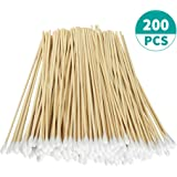 """200 Pcs Count 6"""" Inch Long Cotton Swabs with Wooden Handles Cotton Tipped Applicator, Cleaning With Wood Handle for Oil Makeup Gun Applicators, Eye Ears Eyeshadow Brush and Remover Tool."""