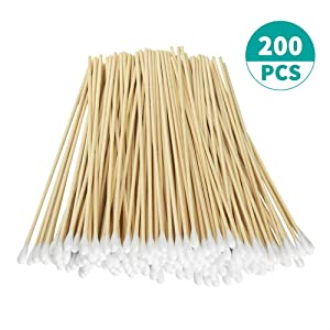 "200pcs Count 6"" Cotton Swabs with Wooden Handles Cotton Tipped Applicator"