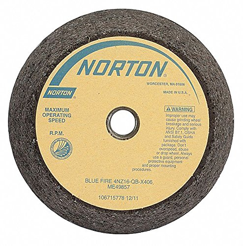 4'' Diam x 5/8-11 Hole Thread Size, 2'' Thick, 16 Grit Tool & Cutter Grinding Wheel by Norton Abrasives - St. Gobain